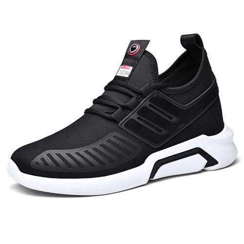 Autumn Elevator Sneakers Black-White Slip On Lightweight Walking Shoes Taller 3.2inch / 8cm