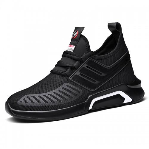 Autumn Taller Sneakers Black Slip On Lightweight Walking Shoes Height Elevator 3.2inch / 8cm