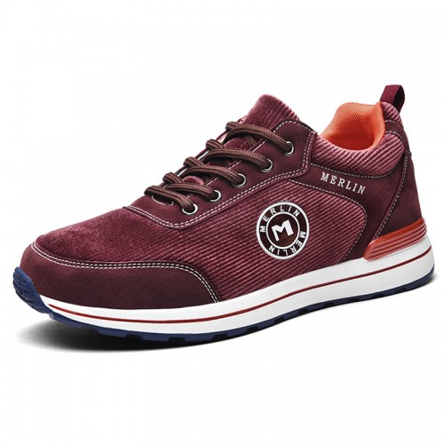 Red Corduroy Height Elevator Sneakers for Men Gain Taller 2.4inch / 6cm Lace Up Lightweight Casual Skate Shoes