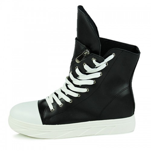 2021 Retro Fashion Hidden Lift Ankle Boots 3inch / 7.5cm Black-White Elevator Chukka Boots