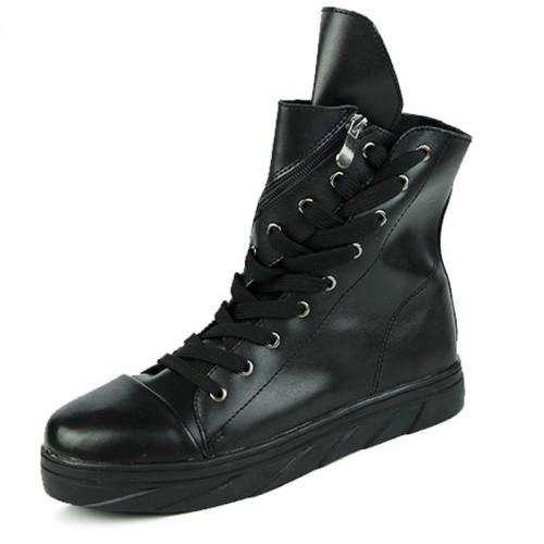 2021 Hidden Heel Elevator Ankle Boots for Men Add Height 3 inch Black Taller Chukka Boots