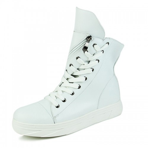 2021 Retro Fashion Hidden Height Elevator Ankle Boots 3inch / 7.5cm White Lift Chukka Boots
