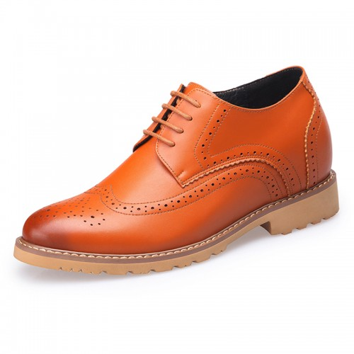 Yellow brogue wing tip taller wedding shoes 8cm / 3.2inch lace up casual business shoes