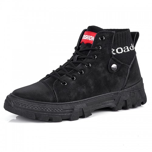 Black Fashion Elevator Ankle Boots Sock Hidden Lift Casual Martin Boots Add Taller 3 inch / 7.5 cm