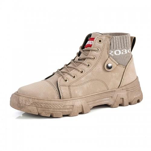 Khaki Fashion Taller Ankle Boots Sock Hidden Height Casual Martin Boots Increase 3 inch / 7.5 cm