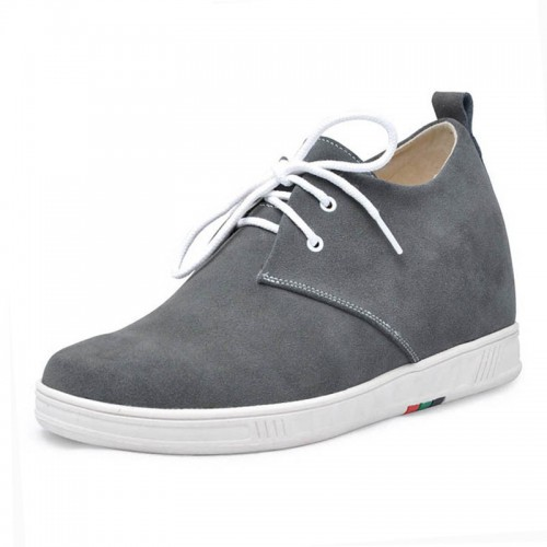 Gray men lift casual shoes get tall 7cm / 2.75inches