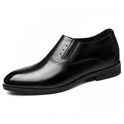 2019 Black Elevator Wedding Shoes for Men Add Height 2.6inch / 6.5cm Elastic Luxury Formal Dress Loafers
