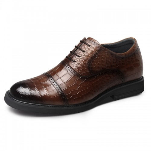 Brown Croco Embossed Elevator Men Oxfords Increase 2.6inch / 6.5cm Lightweight British Business Shoes