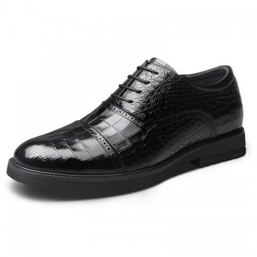 Black Croco Embossed Elevator Oxfords for Men Taller 2.6inch / 6.5cm Lightweight British Formal Shoes