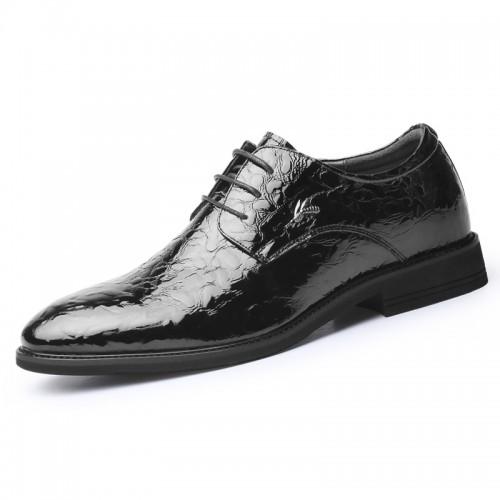 Black Shiny Ice Wrinkle Dress Derby Increase 2.8inch / 7cm Men Hidden Talller Wedding Shoes