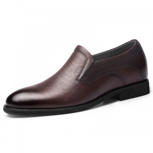 Flexible Elevated Men Dress Loafers Height 2.6inch / 6.5cm  Brown Soft Genuine Leather Slip On Formal Shoes
