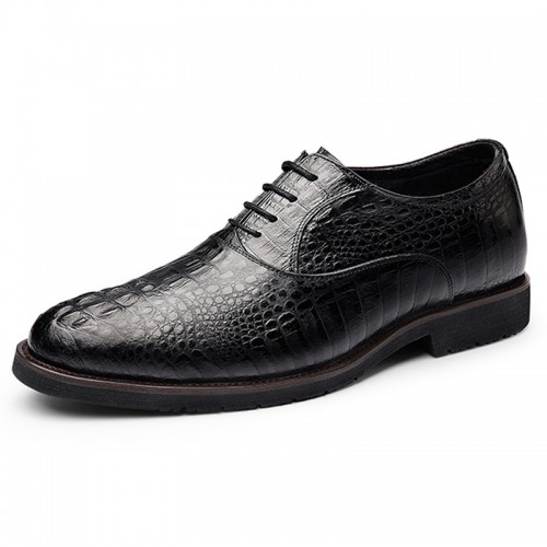 2019 Luxury Elevator Wedding Shoes for Men Increasing Taller 2.6inch / 6.5cm Crocodile Cowhide Oxfords