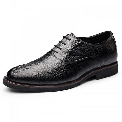 2019 Luxury Elevator Wedding Shoes for Men Increasing Taller 2.6inch / 6.5cm Crocodile Cowhide Oxfords