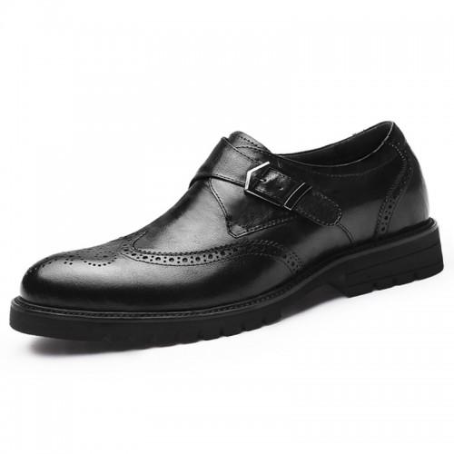 Black Buckle Elevator Brogue Shoes for Men Increase 2.8inch / 7cm British Wing Tip Formal Dress Shoes