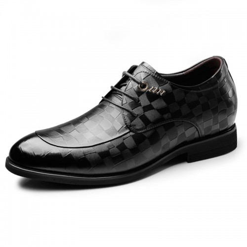 2019 Korean Elevator Embossed Tuxedo Shoesfor Men Height 2.6inch / 6.5cm Lace Up Business Formal Derbies