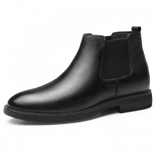 Warm Height Elevator Chelsea Boots for Men Gain Taller 2.6inch / 6.5cm Black Vintage Leather Ankle Boot