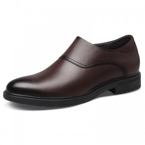 Elevator Zip Business Shoes for Men Add Taller 2.6inch / 6.5cm Plain Toe Formal Dress Loafers
