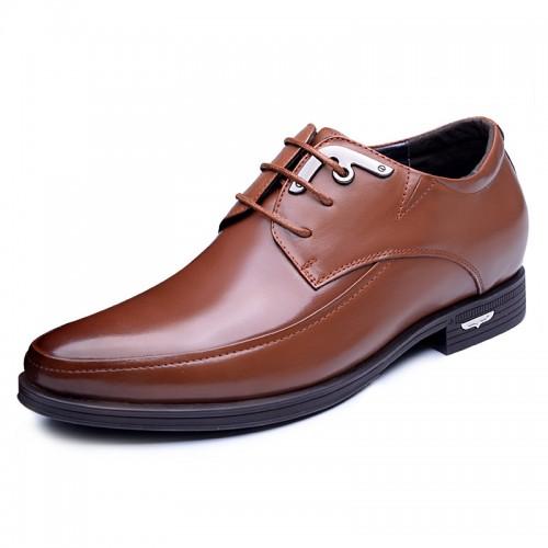 Premium cowhide business taller dress shoes 2.4inch / 6cm Brown