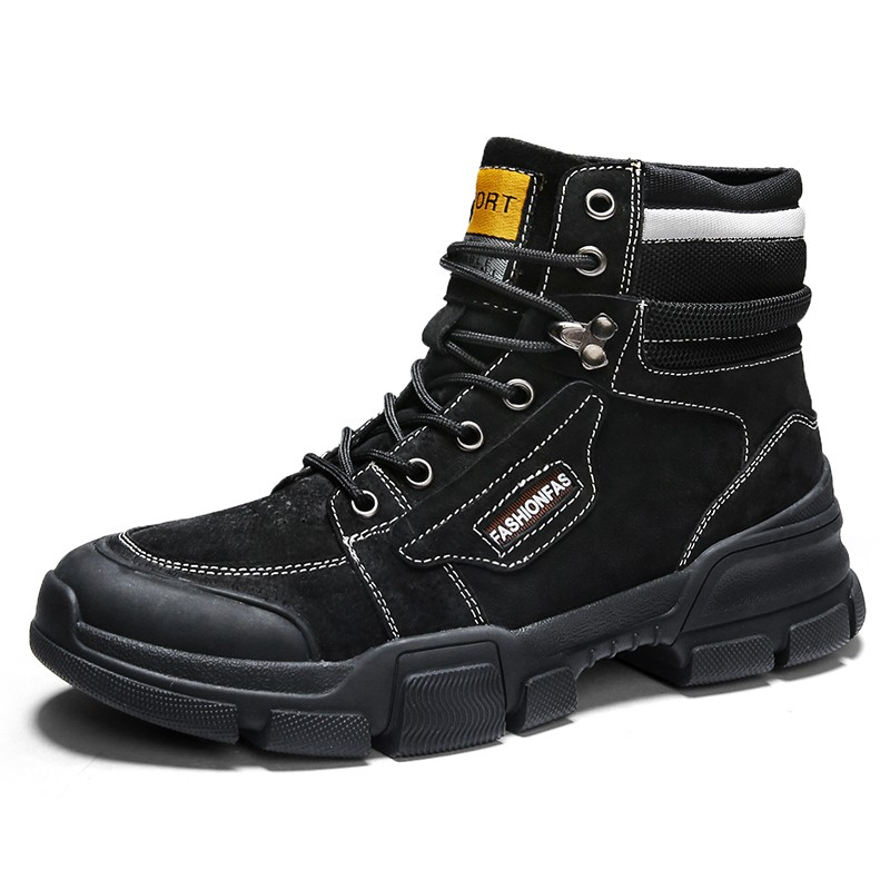 mens black lace up work boots