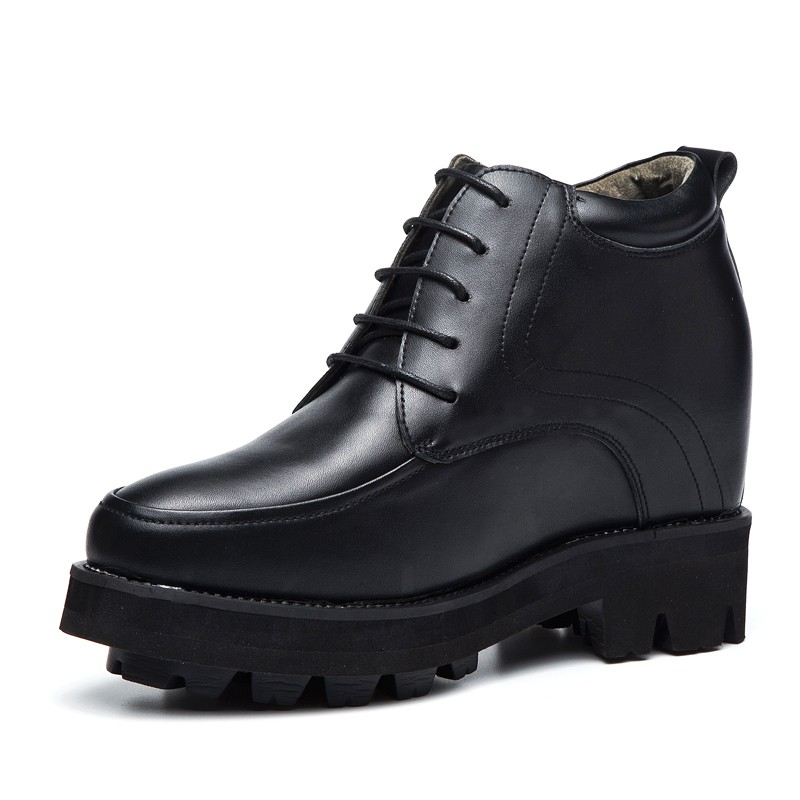 Elevator Men Shoes Black White Hidden Heel Height Increasing Casual Shoes