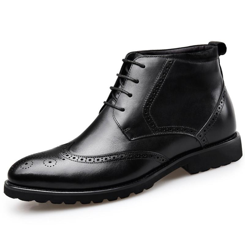 Black Brogue Elevator Dress Boot for