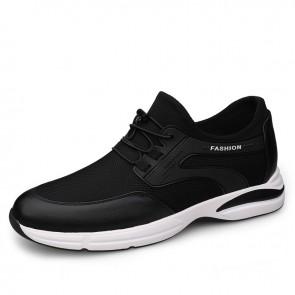 Four Season Elevator Fashion Sneakers for Men Add Taller 3 inch / 7.5 cm Breathable Flyknit Walking Shoes