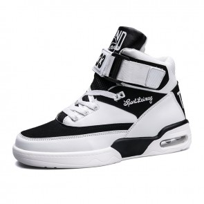 High Top Sneakers Add You Taller Black-White Buckle Elevator Skate Shoes Height 3.6inch / 9cm