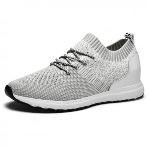 Grey Elevated Flyknit Men Walking Shoes Increase 2.4inch / 6cm Breathable Hidden Lift Sock Sneakers