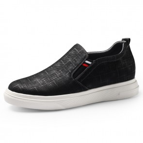 levator Fabric Shoes Black Slip On Skateboarding Loafer Shoes