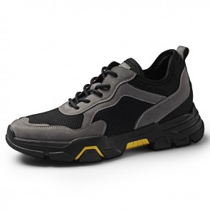 Dark Gray Hidden Taller Mesh Hiking Shoes Mesh Elevator Outdoor Trail Shoes Increase 2.4inch / 6cm