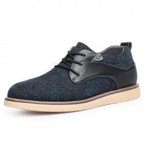 2021 Trendy Elevator Men Plimsolls Add Height 2.4inch / 6cm Lightweight Blue Canvas Sneakers