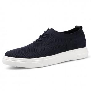 Trendy Hidden Lift Men Flyknit Sneakers Lightweight Blue Mesh Casual Walking Shoes Taller 2.4 inch / 6 cm