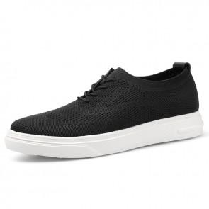 Trendy Elevator Men Flyknit Sneakers Lightweight Black Mesh Casual Walking Shoes Increase 2.4 inch / 6 cm