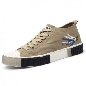 Hidden Height Canvas Skateboard Shoes Khaki Trendy Casual Sneakers Increase 2.2 inch / 5.5 cm
