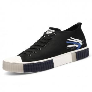 Hidden Lift Canvas Skateboard Shoes Black Trendy Casual Sneakers Add Taller 2.2 inch / 5.5 cm