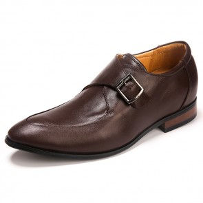 Buckle Strap Taller Shoes increase height 2.5 inch Pointy men formal shoes