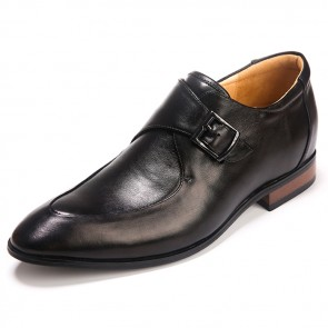 Buckle Strap Elevator Shoes for men taller 2.5inch Black Cow Leather Pointy Dress Shoes