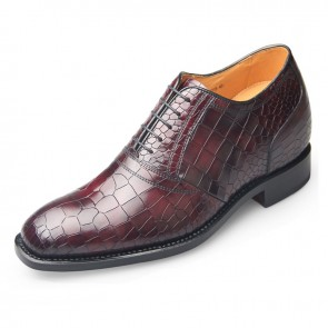 High quality crocodile elevator dress shoes for height 6.5cm / 2.56inch wine red business oxfords
