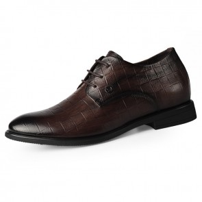 2020 Brown Embossed Men Elevator Dress Shoes Increase 2.6inch / 6.5cm Breathable Lace Up Business Formal Shoes