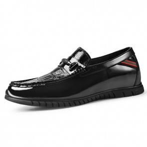 Shiny Height Increasing Flat Shoes for Men Taller 2.2inch / 5.5cm Black Elevator Bit Loafers Slip On Driving Doug Shoes