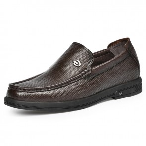Best Height Increasing Driving Shoes Fashion Slipper Taller 2 inch / 5 cm Soft Brown Premium Leather Doug Shoes