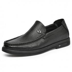 Best Elevator Driving Shoes Add Taller 2 inch / 5 cm Soft Black Premium Leather Doug Shoes Fashion Slipper