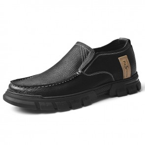 Premium Nubuck Leather Elevator Casual Loafers British Slip On Work Shoes Add Height 2.4 inch / 6 cm