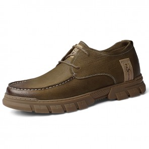 Comfortable Lift Men Work Shoes British Brown Premium Nubuck Casual Shoes Add Tall 2.4 inch / 6 cm