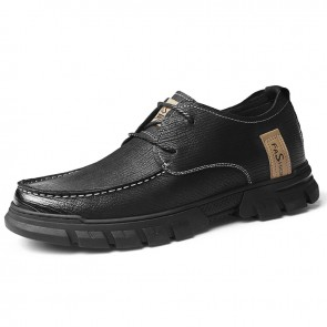 Comfortable Taller Men Work Shoes Black Premium Nubuck British Casual Shoes Height 2.4 inch / 6 cm
