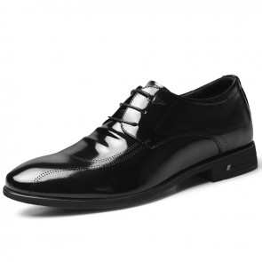 Lightweight Shiny Elevator Tuxedo Shoes Patent Leather Formal Shoes Increase Taller 2.6 inch / 6.5 cm