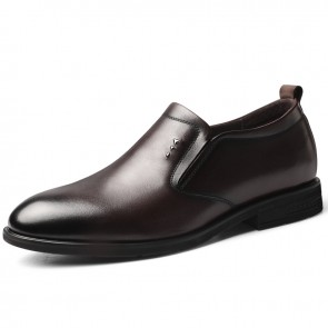 2021 Awesome Height Dress Loafers Brown Slip On Formal Tuxedo Shoes Increase 2.4 inch