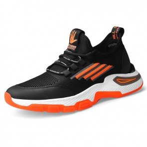 Hidden Height Sneakers Orange Flyknit Elevator Walking Running Shoes Gain Taller 2.6 inch / 6.5 cm