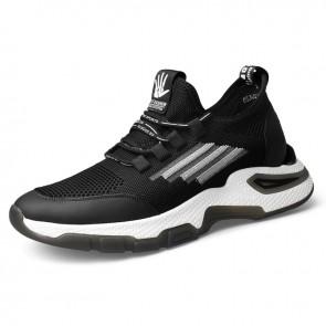 Hidden Taller Sneakers Black Flyknit Elevator Walking Running Shoes Increase 2.6 inch / 6.5 cm
