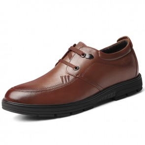 Brown Soft Calfskin Tall Men Shoes Fashion Business Casual Shoes Add Height 2.4 inch / 6 cm